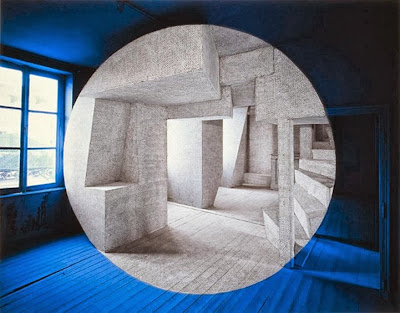 optical illusion in blue by french artist Georges Rousse