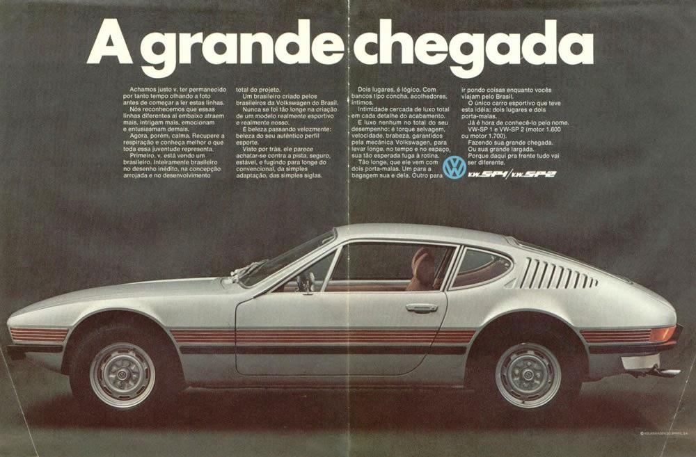 Propaganda do SP1 e SP2 da Volkswagen, nos anos 70. Modelo esportivo fabricado no Brasil.