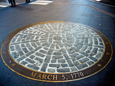 Place marker of the site of the Boston Massacre