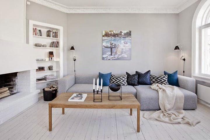 styl skandynawski, biel, szarość, scandinavian style, living room, salon,
