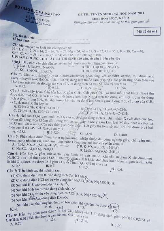 Đề - Đáp án chính thức khối A năm 2011  T607927