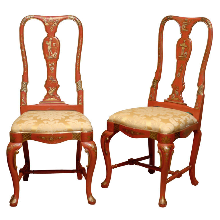 Chinoiserie Chippendale Chair Orange Chinoiserie Chairs