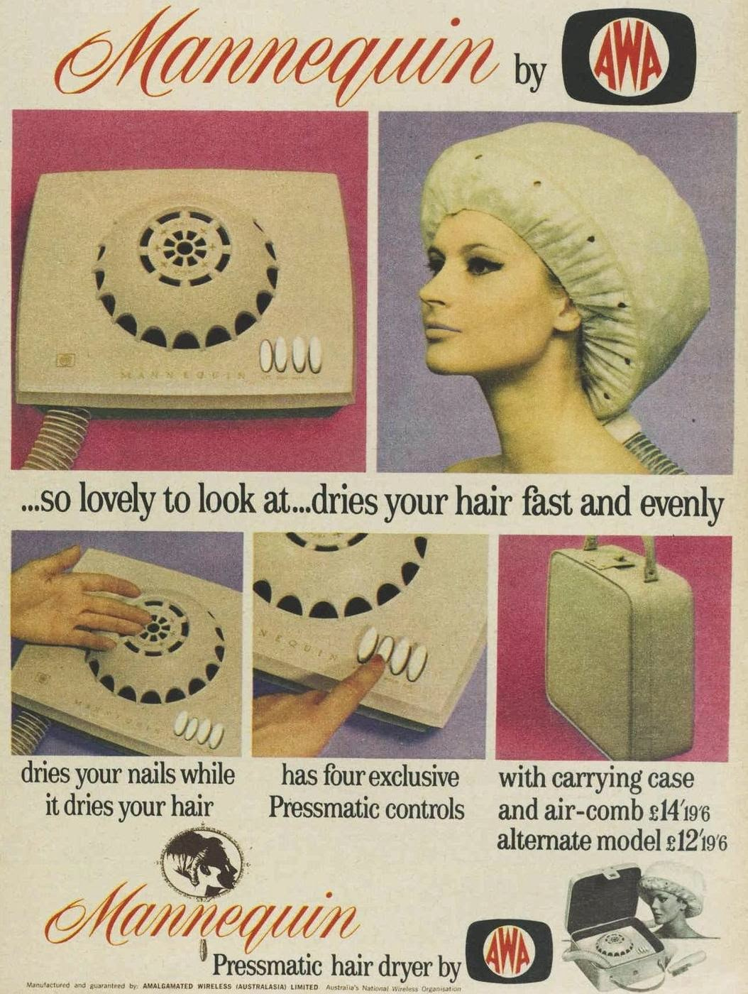 vintage ad for hairdryer 1960s