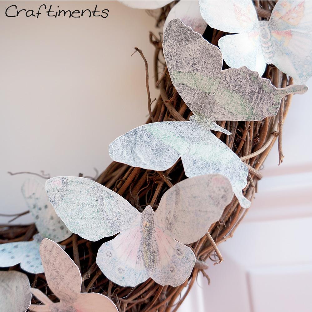 Closeup of paper butterflies