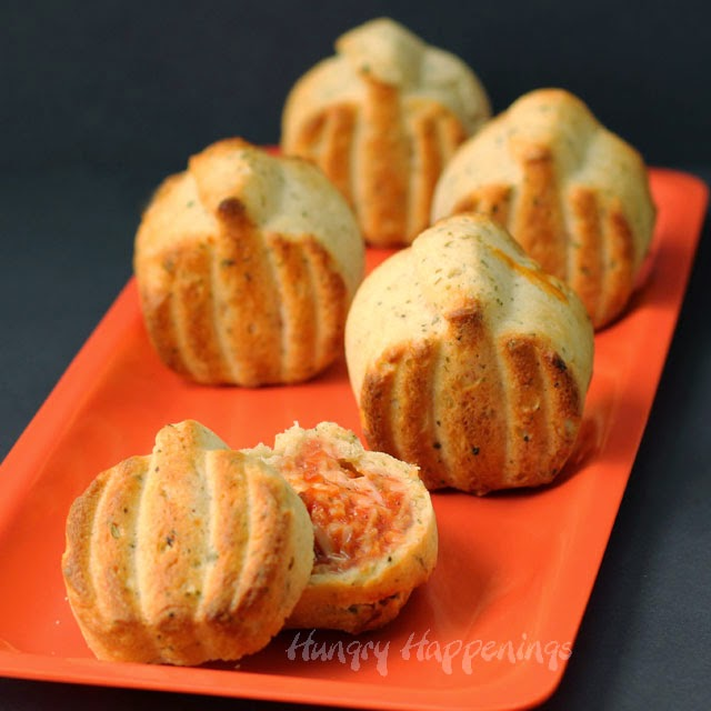 Three-Cheese Calzone Pumpkins  | HungryHappenings.com