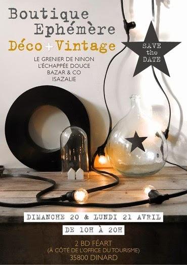 Affiche de la boutique éphémère organisée à Dinard le 20 et 21 avril 2014