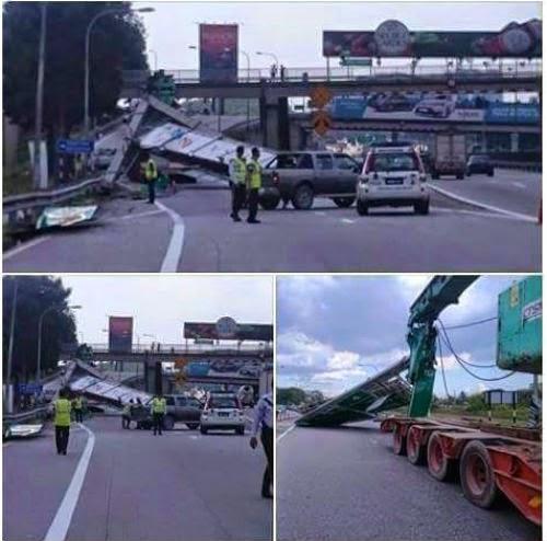 Papan Tanda Federal Highway Jatuh Di Langgar Treler