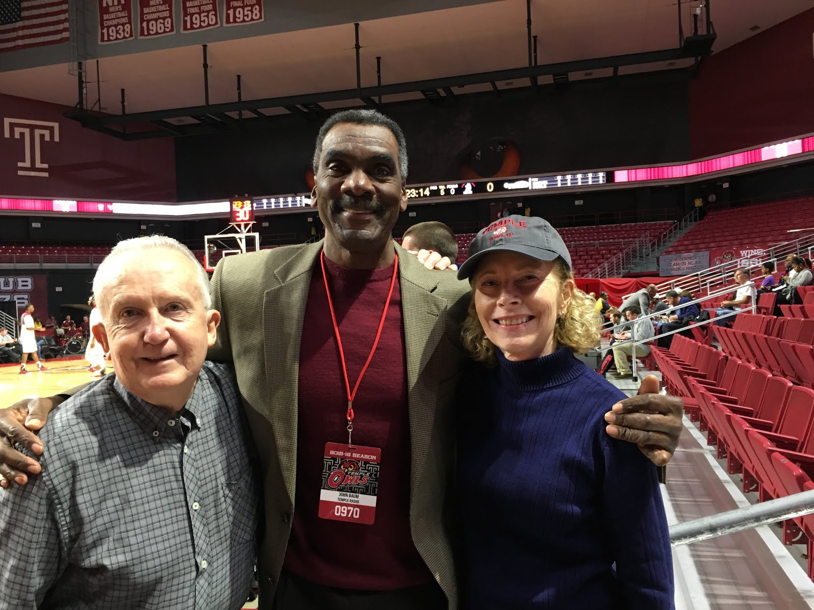 With their good friend, John  Baum, analyst for Owls bb and member of the Temple Hall of Fame.