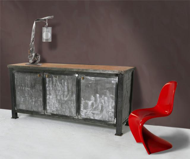 buffet métal recyclage d'art
