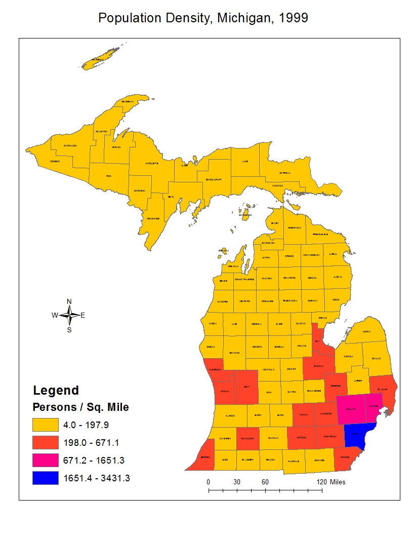 the next map i created was the dot density map of michigan it gives us similar information as the choroplethic map but it is displayed in a different