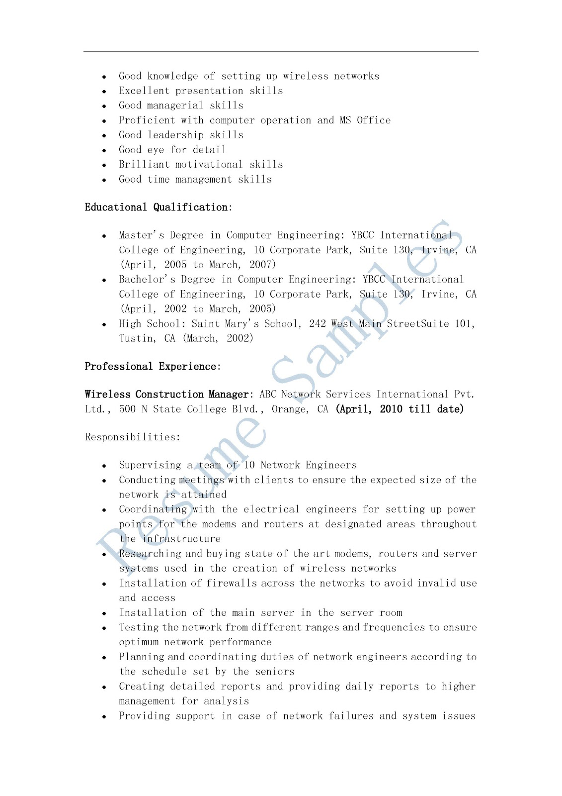 resume samples  wireless construction manager resume