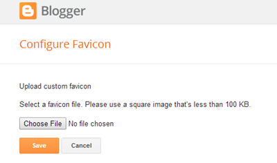 Upload your Favicon By clicking choose file