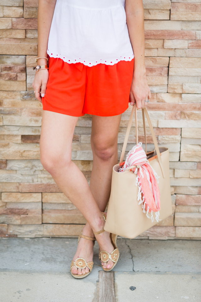 bright orange shorts with cork wedge from jack rogers M Loves M @marmar