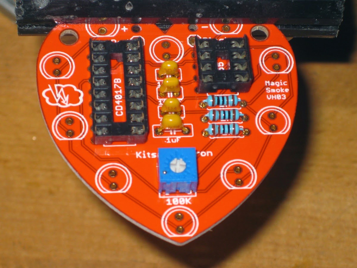 Magic Smoke Heart Circuit Boards Like Appears After Soldering The Sockets You Can Cut Pins Flush Or Just Leave Them As They Are Reverse Of Board Should Look Something This