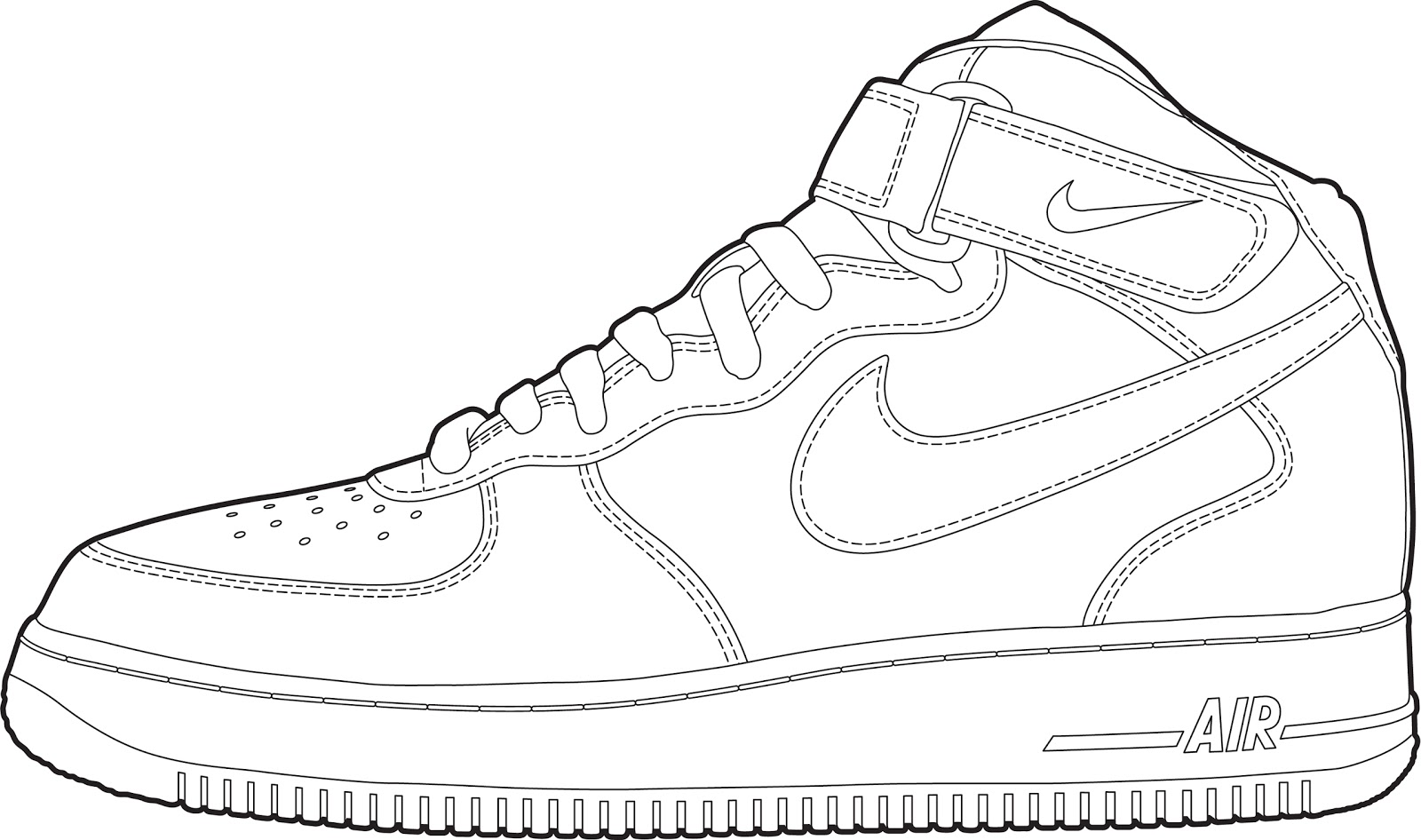 free coloring pages of nike air force outline