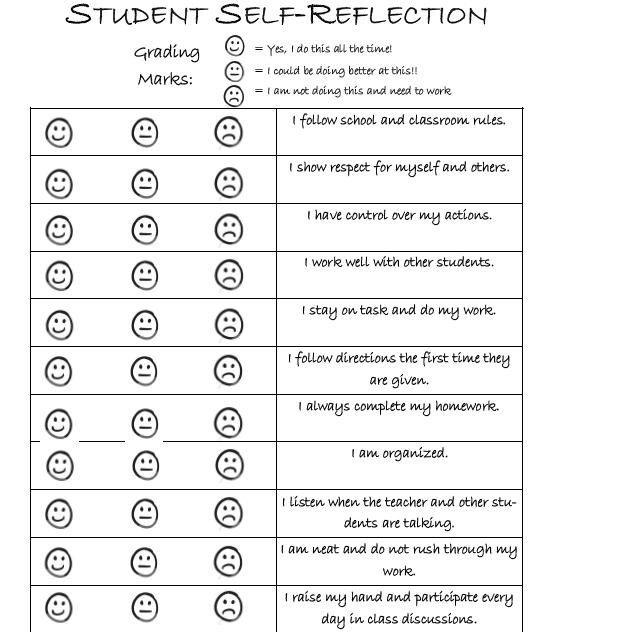 behavior reflection worksheet