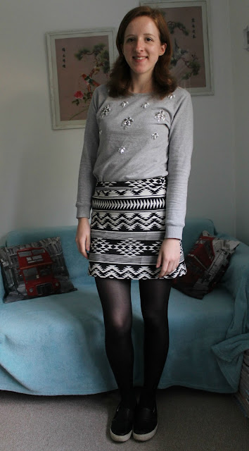 OOTD Fashion Blogger Statement Jumper A-Line Skirt Skater Shoes Topshop Primark ASOS F&F