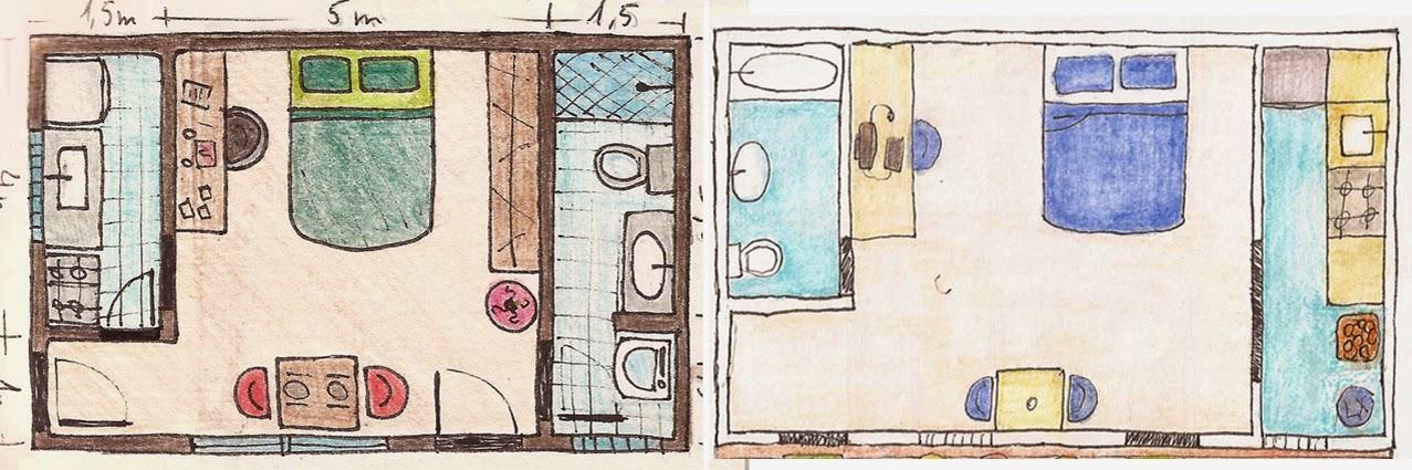 revista decoracao kitnet:Sketch da Planta-baixa tirada de uma revista