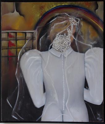 A noiva- óleo s/tela - Elma Carneiro. Uma noiva que entra na igreja mde costas para o altar