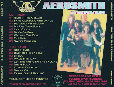 Aerosmith Bootlegs Cover Arts Big Ten Inch Toledo Toledo
