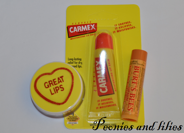 MUA love heart lipbalm in great lips, Carmex original lip balm, Burts Bees honey lip balm, Giveaway, Christmas giveaway, MUA cosmetics, Carmex, Burt's Bees
