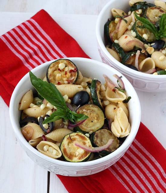 Warm Pasta Salad with Corn and Zucchini | Skinnytaste