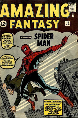 Amazing Fantasy #15, Spider-Man origin, Jack Kirby and Steve Ditko cover