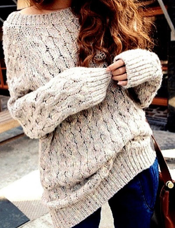 Easy, Oversized, Cozy Cable Neck Sweater to Pair with Jeans