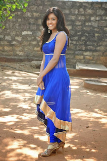 Actress Vithika Sheru Latest Pictures in Blue Salwar Kameez at Paddanandi Premalo Mari Movie First Look Launch 20
