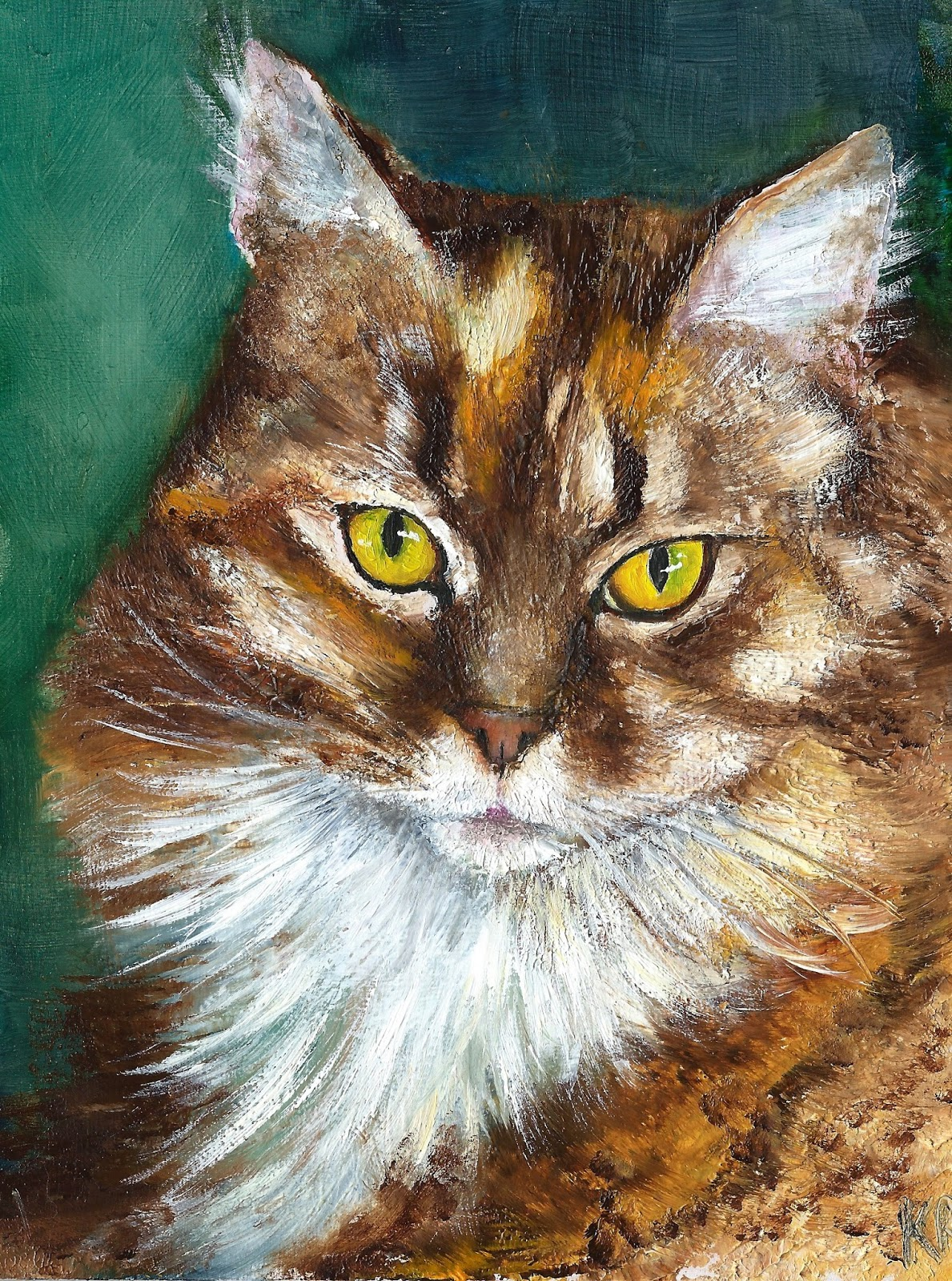 Tabby cat oil painting with a palette knife. Pet portrait by Karen in Devon