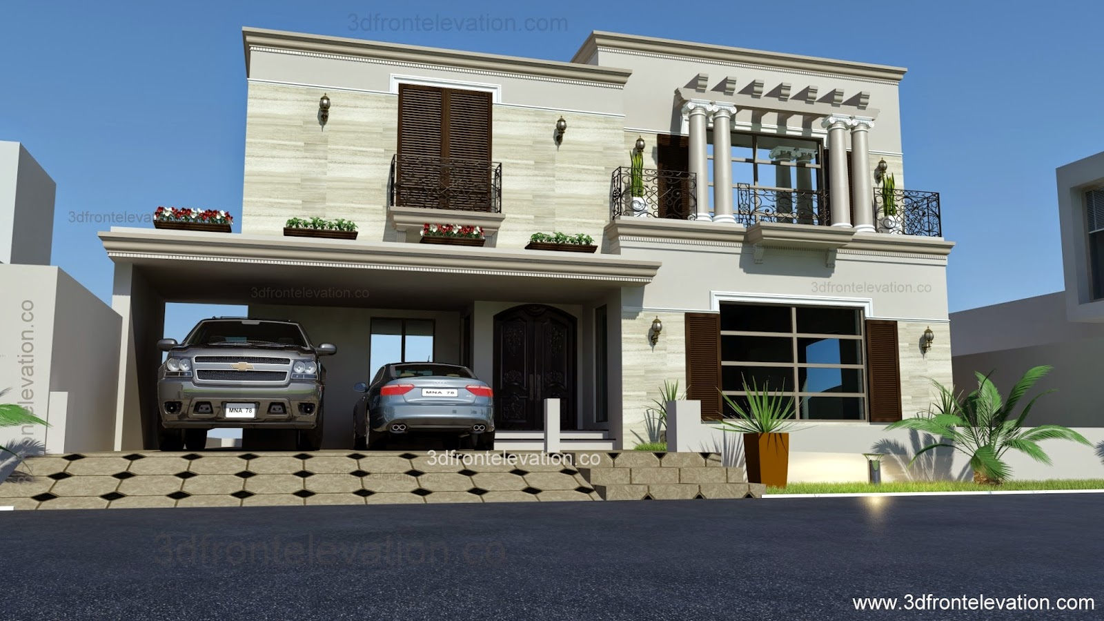 3d front 1 kanal spanish house design plan for 3d elevation house plan