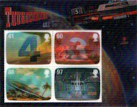 Four Thunderbirds 3-d stamps in a mini sheet