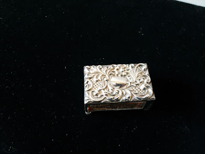 SOLID SILVER MATCHBOX HOLDER WITH MATCHES