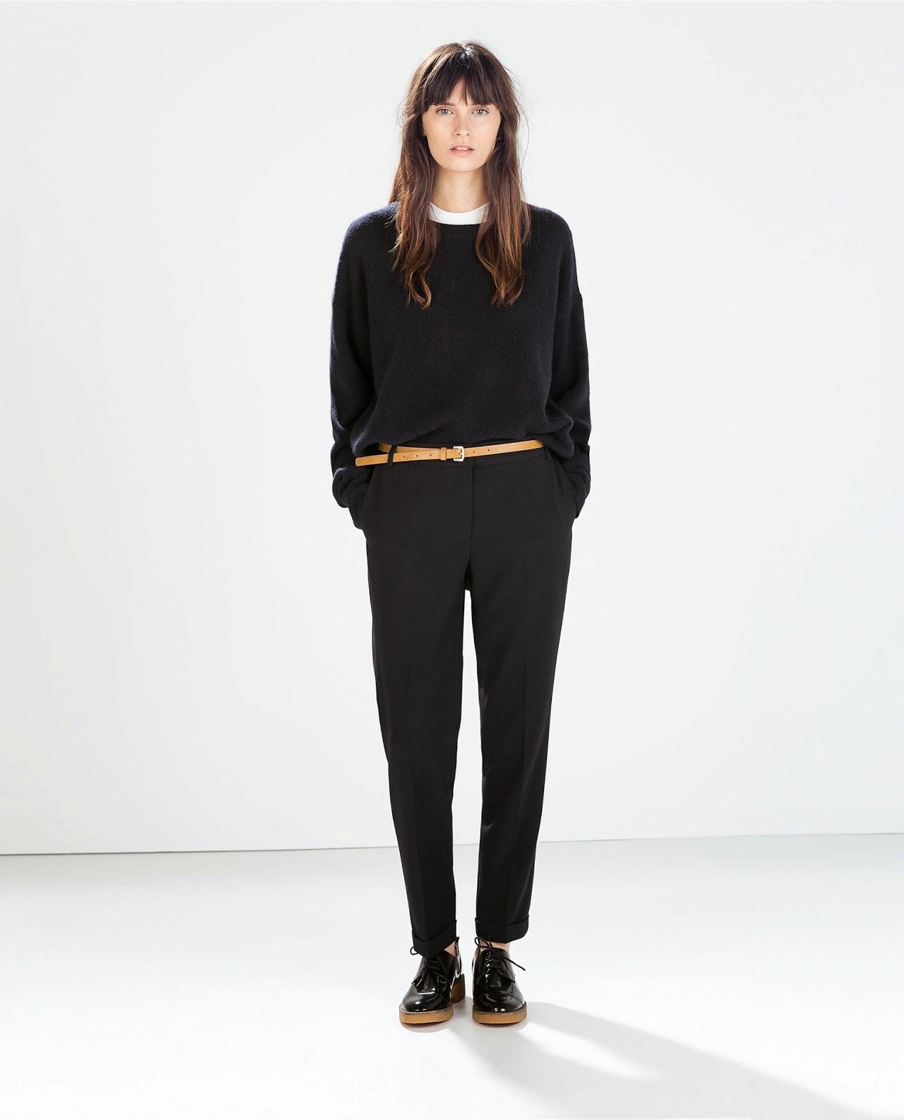 zara black cropped trousers