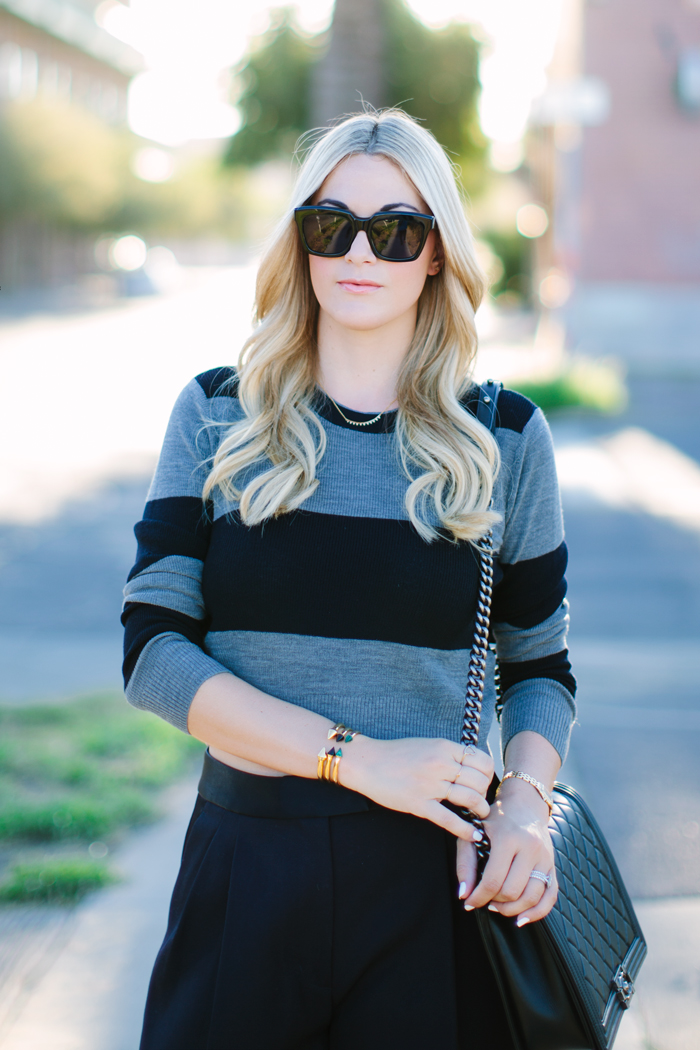 ALC, Stripe, Cropped, Brandie, Sweater, Navy, Grey, Phillip Lim, Pleated, Shorts, Fall, Tibi, Piper, Pointed, Black, Boot, Chanel, Large, Boy, Bag, Celine, Sunglasses, Vita Fede, Titan, Mini, Stone, Spike, Bracelets, Edgy, Outfit, Caitlin Lindquist, A Little Dash of Darling, Outfit Inspiration, Fashion Blog, Street Style, Personal Style, Arizona, Scottsdale, Phoenix, Park City, Utah, Blogger, Intermix, A.L.C