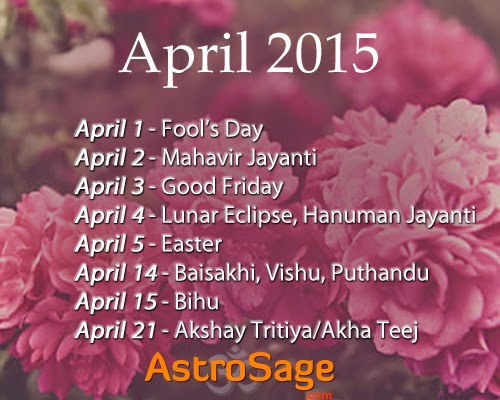 Plan your April in 2015 with this calendar.