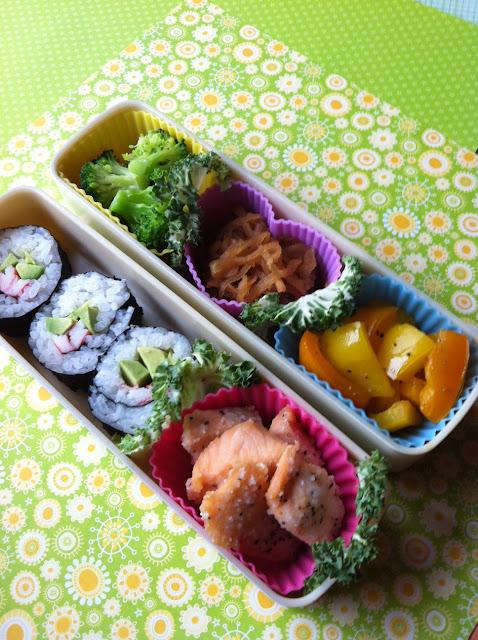 sushi roll, norimaki, のりまき弁当、サーモン唐揚げ