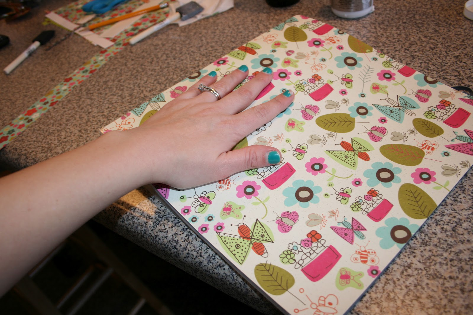 How to make scrapbook binder - Then Paint The Back Of The Scrapbook Paper With The Mod Podge And Stick It Down To The Binder Make Sure To Line It Up Well And Rub Out All The Bubbles