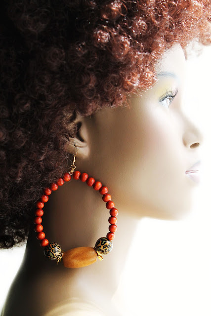 african wood beaded hoop earrings