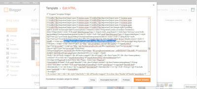 Penempatan Script yang sudah di Upload di Template Blogger