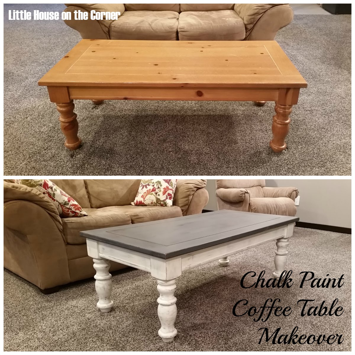 Little house on the corner chalk paint coffee table makeover for Painted coffee table ideas
