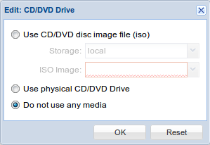Edit CD/DVD driver Proxmox