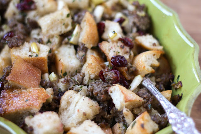 Sausage, Cranberry, and Apple Stuffing - 5 Favorite Thanksgiving Side Dish recipes by Barefeet In The Kitchen