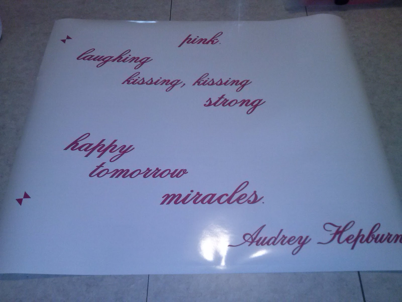 Vinyl wall decal quote Audrey Hepburn