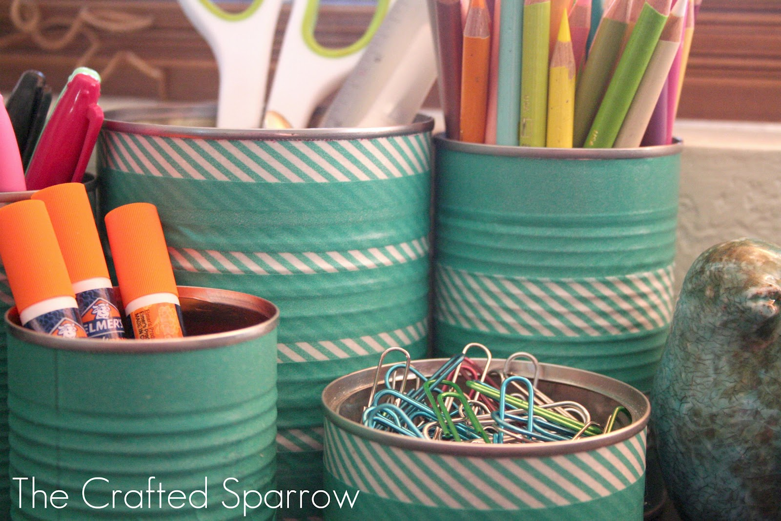 Tin cans for crafts - Washi Tape Tin Cans