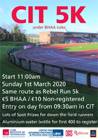 New 5k in CIT in Cork City - Sun 1st Mar 2020