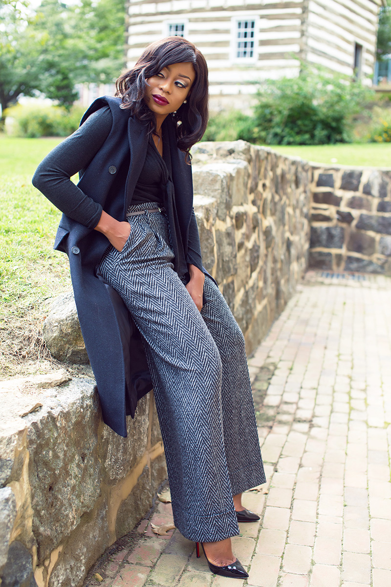 Fall work style, Zara wide leg pants, nars audacious lipstick, sleeveless coat