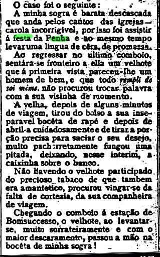 """NOTÍCIA DE """"O RIO NU"""" DE 17/10/1900:"""