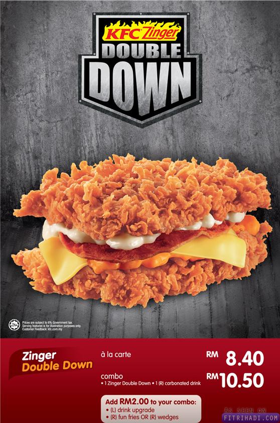 gambar harga berger kfc zinger double down burger