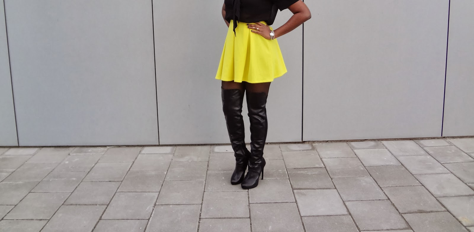 GlamorousGia outfit dark skin black girl wearing over the knee boots featuring top: ASOS | skirt: ASOS | boots: Forever21 | necklace: H&M | rings: ASOS, Aldo